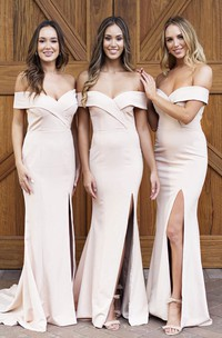 Front Split Sexy Elegant Off-the-shoulder Trumpt Bridesmaid Dress With Cross Criss