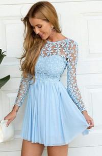 A-line Jewel Long Sleeve Pleats Ruching Short Mini Chiffon Lace Homecoming Dress