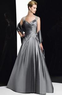 A-Line Maxi Appliqued Sleeveless Queen Anne Satin Formal Dress