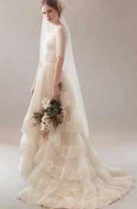 Vintage Jewel Neck Short Sleeve Lace Wedding Dress With Tiers