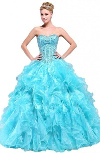 Stunning Sweetheart Ruffled Ball Gown With Beadings