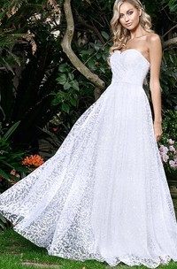 Sexy Lace A Line Sweetheart Floor-length Open Back Wedding Dress with Ruching