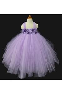 Crystal and Rhinestone Violet and Purple Flower Girl Tutu Dress