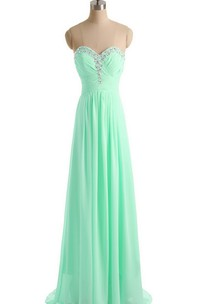 Sweetheart Crystal-beaded A-line Gown With Train