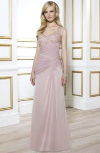 Floor-Length Cap-Sleeve Beaded V-Neck Formal Dress With Ruching