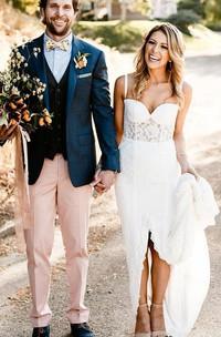 Elegant Sheath Lace Spaghetti Sweetheart Sleeveless Wedding Dress With Split Front