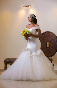 Mermaid Off-The-Shoulder Tulle Satin Wedding Dress With Corset Back