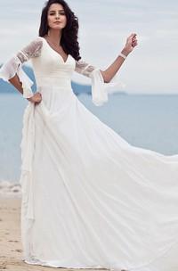 A Line V-neck Chiffon Lace Floor-length Half Sleeve Wedding Dress