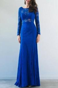 Bateau Lace Long Sleeve Illusion Dress