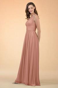 Modern A Line One-shoulder Chiffon Sleeveless Bridesmaid Dress