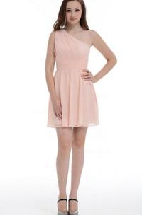 Sheath Short One-shoulder Chiffon Dress