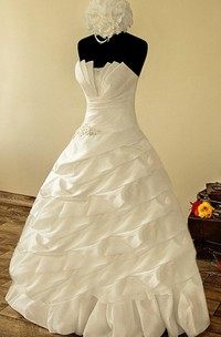 Strapless Tiered Ruffles Dress With Corset Back