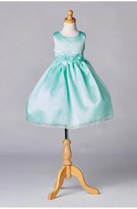 Sleeveless Jewel Neck Satin Organza Layered Skirt With Flower Waistline