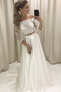 Two Piece Off-the-shoulder Sleeves Satin Wedding Dress with Lace Wedding Dresses