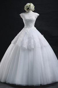Lace-up Lace Tulle Wedding Dress Ball Gown With Appliques