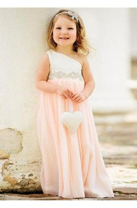 Delicate One Shoulder Chiffon Flower Girl Dress 2018 Pearls