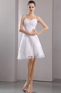Straps Short Stunning Spaghetti Gown With Embroidery