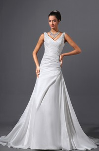 Adorable Column Dress With Court Train And Ruching