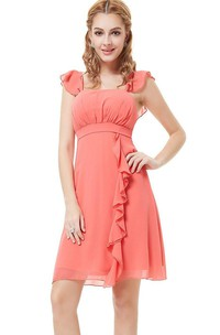 Cap-sleeved Short Chiffon Dress With Ruffles