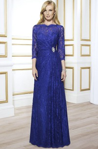 Jewel Neck 3-4 Sleeve Lace Formal Dress With Illusion Back