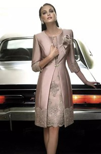 A-line Jewel T-shirt 3-4 Length Sleeve Knee-length Satin Mother of the Bride Dress with Appliques