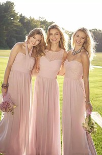 A-Line Halter Jewel Sweetheart Sleeveless Chiffon Lace Dress