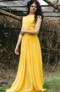 Chiffon Jewel Neck Floor-Length Dress With Bow