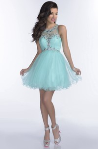 Mini Tulle A-Line Sleeveless Prom Dress With Crystal Detailing