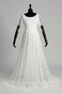 Floor-length Sweep/Brush Train A-line Scoop Illusion Short Sleeve Satin Lace Maternity Weeding Dress