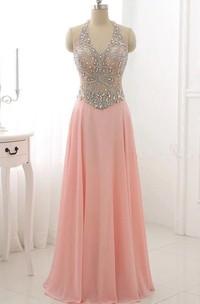 Floor-length Halter Backless Chiffon Dress With Beading