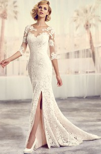 Floor-Length Scoop Split-Front Long-Sleeve Lace Wedding Dress