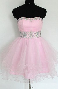 Short Tulle Empire Dress With Beading And Ruffles