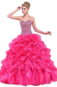 Chic Sweetheart Ball Gown With Ruffles and Beadings