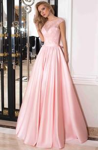 A-Line Floor-Length Scoop Cap Satin Lace Bow  Lace-Up Corset Back Dress