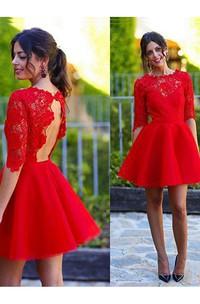 A-line Jewel Scalloped Half Sleeve Lace Ruching Short Mini Satin Lace Homecoming Dress
