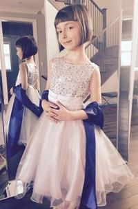 First Communion Sleeveless Ruffled Sequin Flower Girl Organza Dress