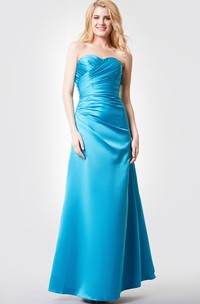 Sweetheart Ruched Backless A-line Long Satin Dress