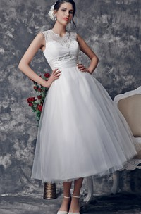 Vintage Tea-Length Wedding Dress with Illusion Back