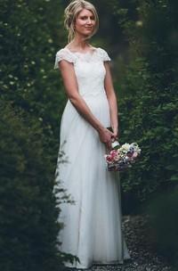 Simple Adorable A Line Satin Lace Tulle Bateau Short Sleeve Wedding Dress