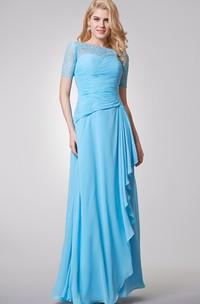 Bateau Neckline Long Chiffon Dress With Lace Top