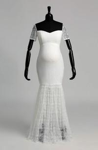 Floor-length Mermaid Off-the-shoulder Illusion Short Sleeve Lace Maternity Weeding Dress