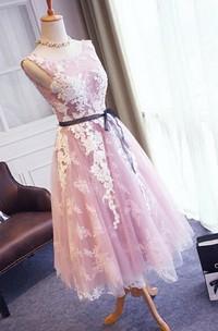 Pretty Sleeveless V-back Tea-length Lace Dress