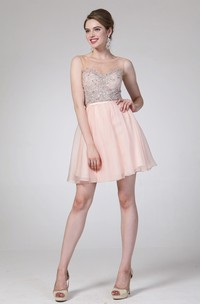 A-Line Short Scoop-Neck Sleeveless Chiffon Illusion Dress With Beading