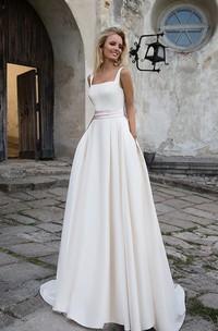 Simple Satin A-line Square Neckline Floor Length Bridal Gown