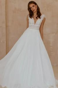 Bohemian Chiffon Lace V-neck A Line Short Sleeve Wedding Dress with Low-V Back