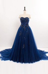 A-line Sweetheart Long Tulle Dress with Appliques and Sequins