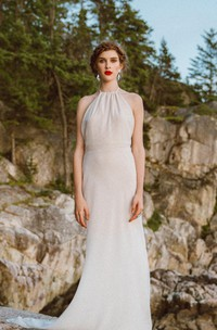 Halter Neck Sleeveless Backless Sheath Long Chiffon Wedding Dress