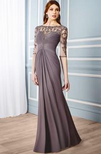 Sheath Floor-Length Ruched Bateau Neck Half Sleeve Chiffon Formal Dress