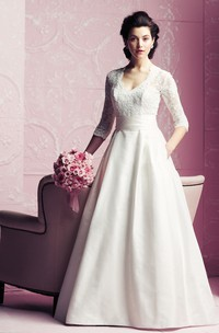 Elegant V-neck 3/4 Sleeved A-line Dress With Lace Bodice