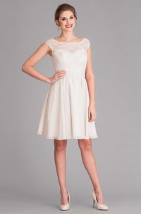 Knee-Length Scoop Cap-Sleeve Lace Wedding Dress